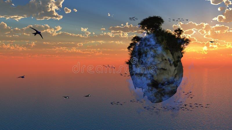 Fantasie-sich hin- und herbewegende Insel stock abbildung