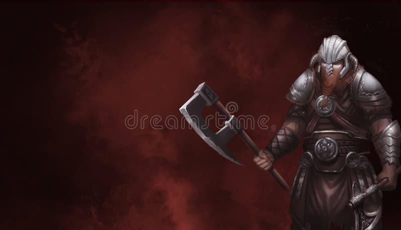 Fantasie-Skandinavier Viking Kriegers-Charakter-Entwurf Realistische Abbildung stock abbildung