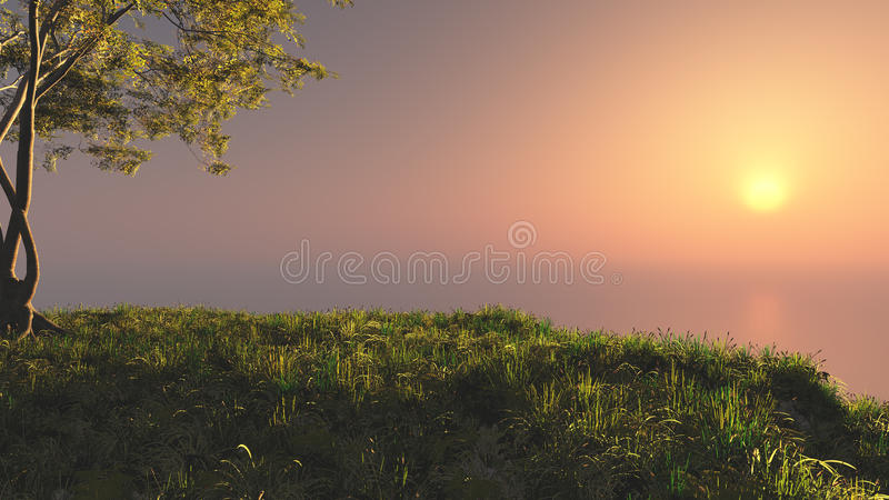 Fantasie-Sonnenuntergang-Hügel stock abbildung