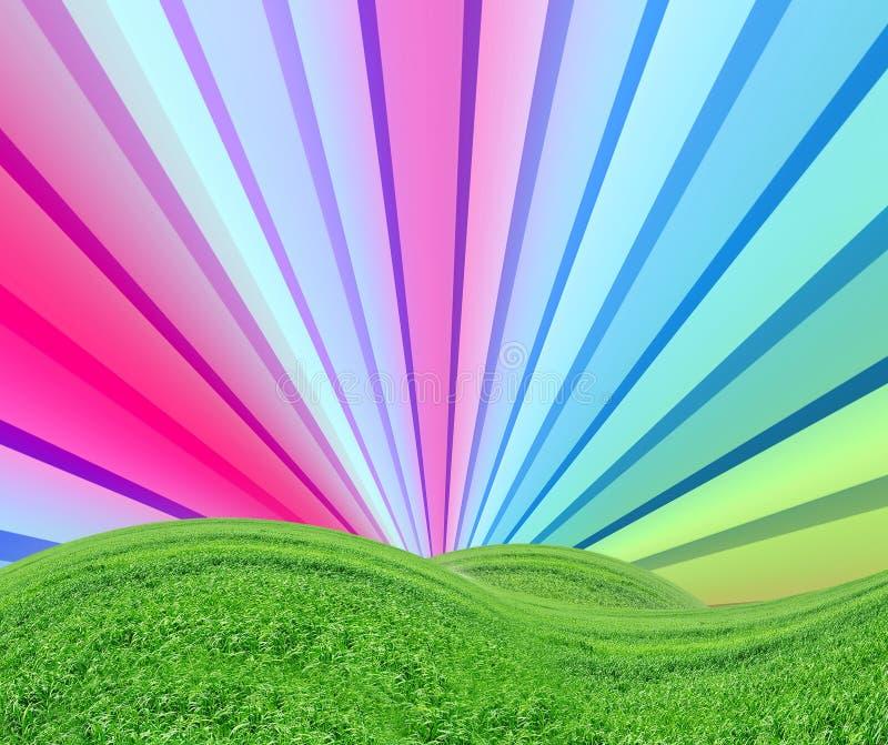 Fantasie-Strahlen über grünem Feld lizenzfreie abbildung