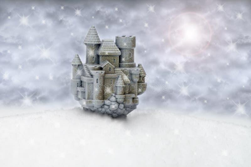 Fantasie-Traumschnee-Schloss lizenzfreie abbildung
