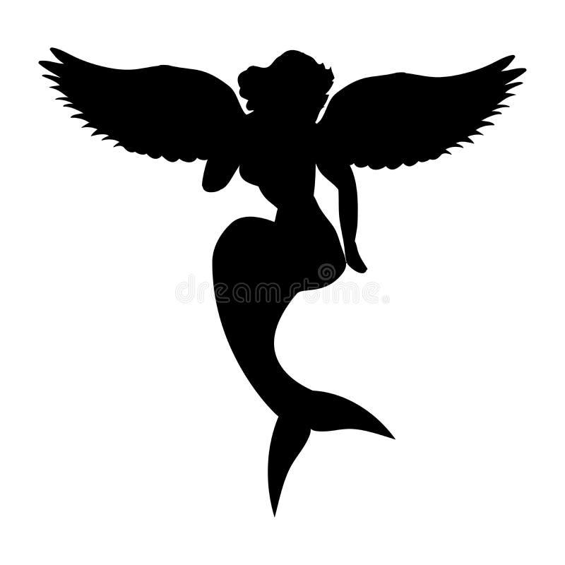 Fantasie van de het silhouet de oude mythologie van de meerminsirene vector illustratie