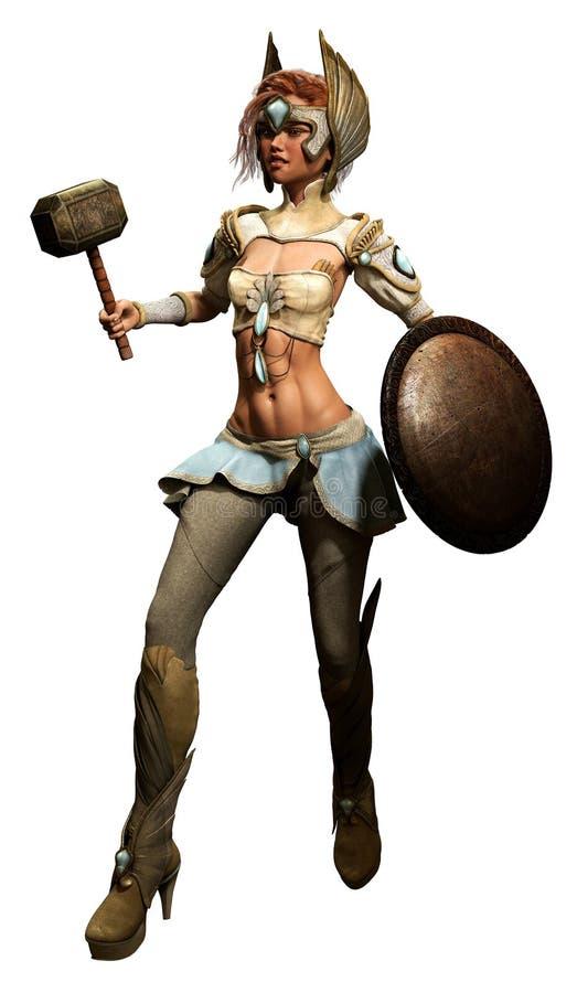 Fantasie vrouwelijke strijder royalty-vrije illustratie
