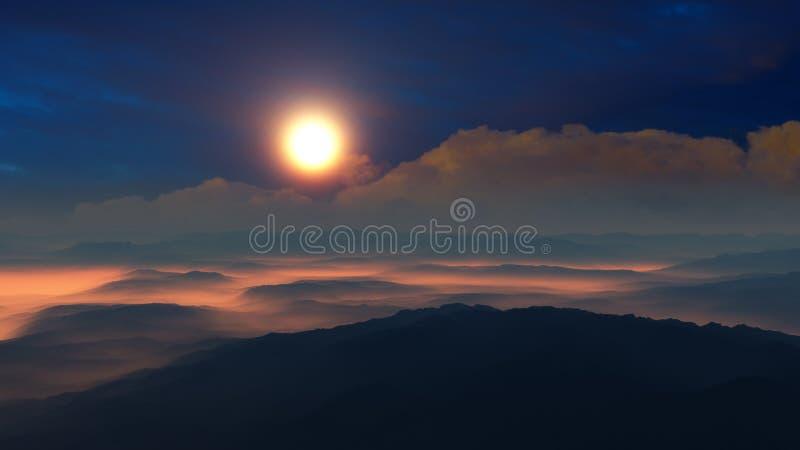 Fantasie-Wüsten-Sonnenuntergang über Hügeln stock abbildung