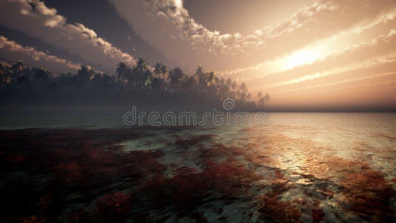 Fantasie-Wolken über Tropeninsel lizenzfreie abbildung