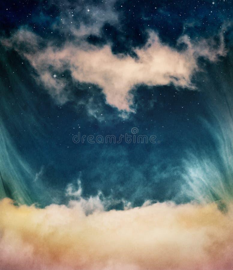 Fantasie-Wolken und Sterne stockfoto