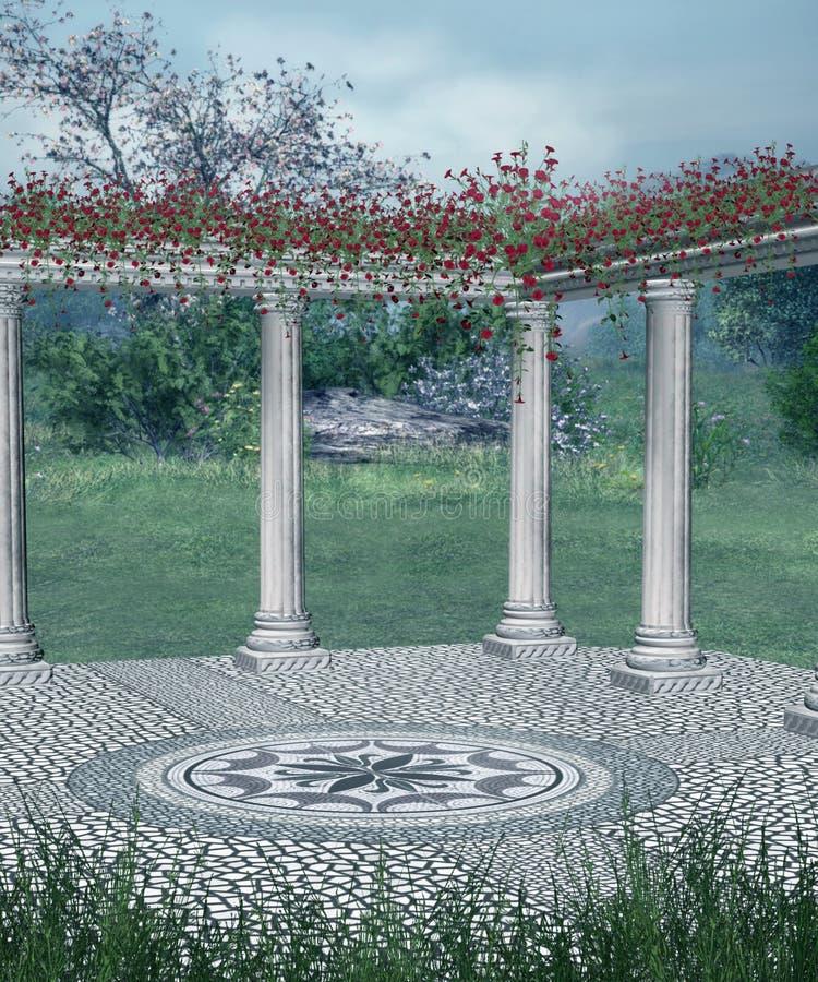 Fantasiebalkon mit roten Blumen vektor abbildung