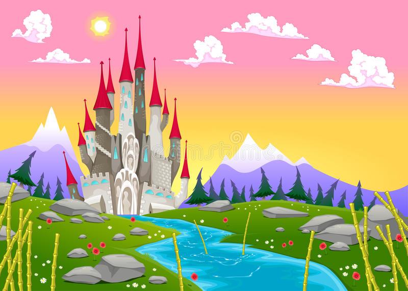 Fantasieberglandschaft mit mittelalterlichem Schloss lizenzfreie abbildung