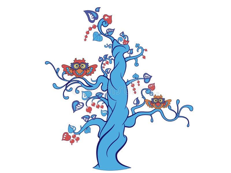 Fantasieboom met twee grappige uilen stock afbeelding