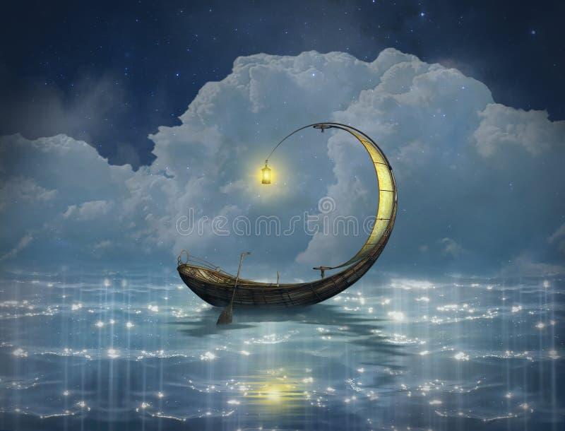 Fantasieboot in een sterrige nacht royalty-vrije illustratie