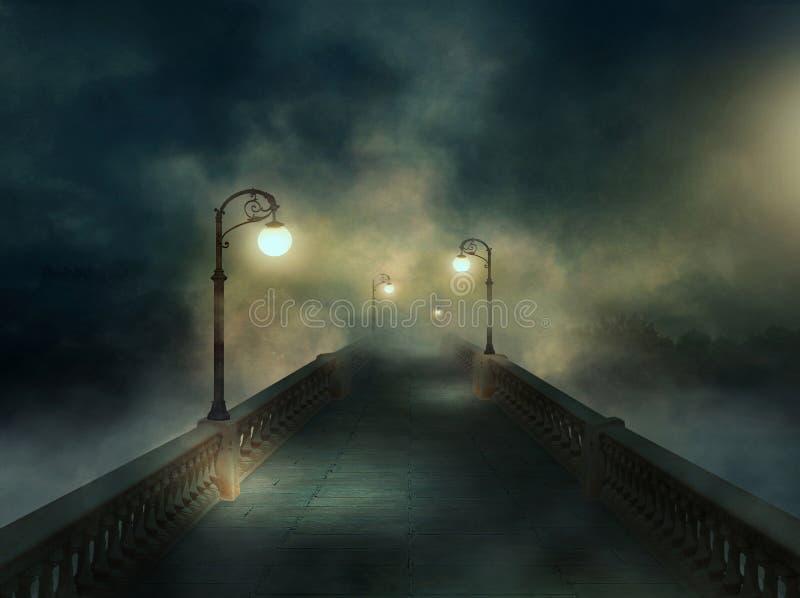 Fantasiebrücke im Nebel stockfoto