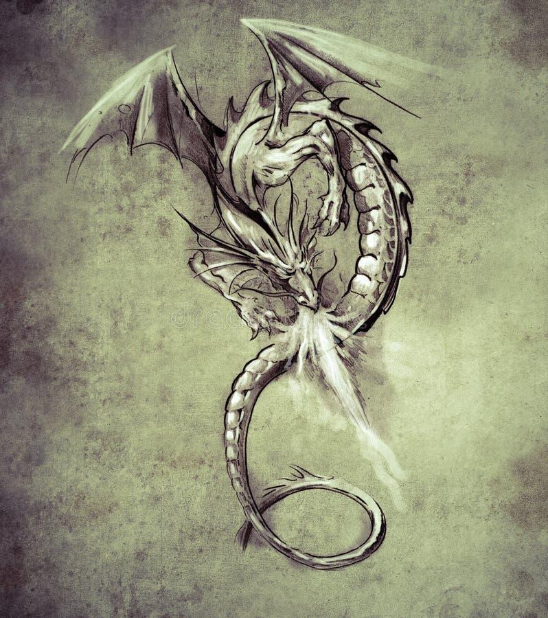 Fantasiedraak. Schets van tatoegeringskunst, middeleeuws monster royalty-vrije illustratie