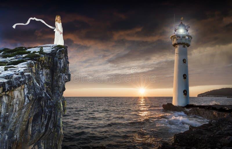 Fantasiedroom, Vuurtoren, Overzees, Oceaan royalty-vrije stock afbeeldingen