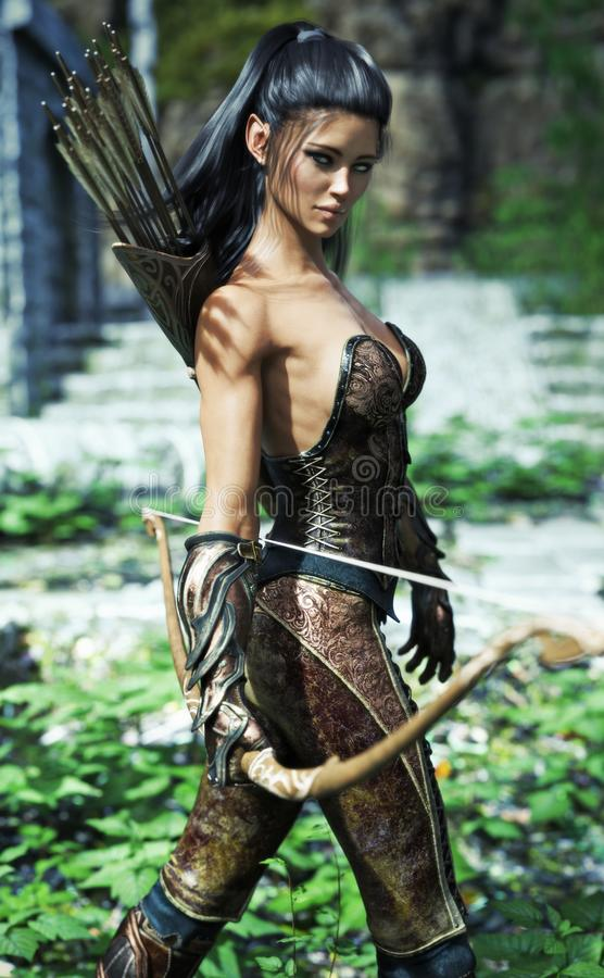 Fantasieelfenfrau exotische Rüstung tragend und mit einem Bogen ausgerüstet lizenzfreie abbildung