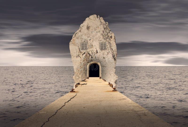 Fantasiefelsenhaus im Ozean lizenzfreie stockfotos