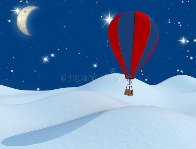 Fantasieheißluftballon und der Mond vektor abbildung