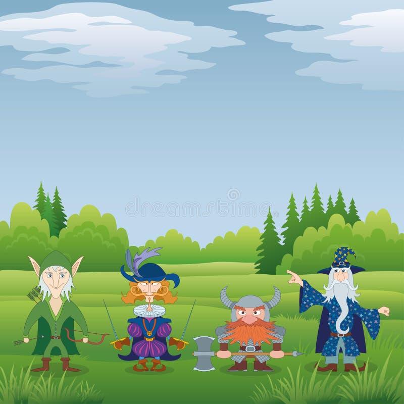 Fantasiehelden in bos royalty-vrije illustratie