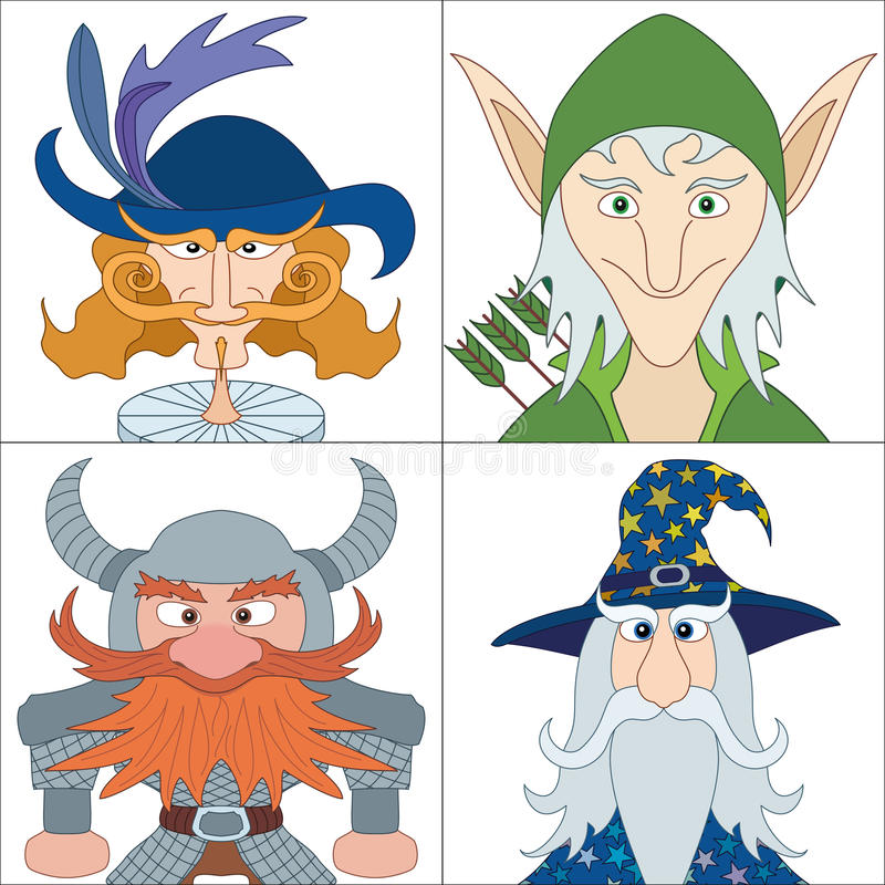 Fantasiehelden, vastgestelde avatars vector illustratie