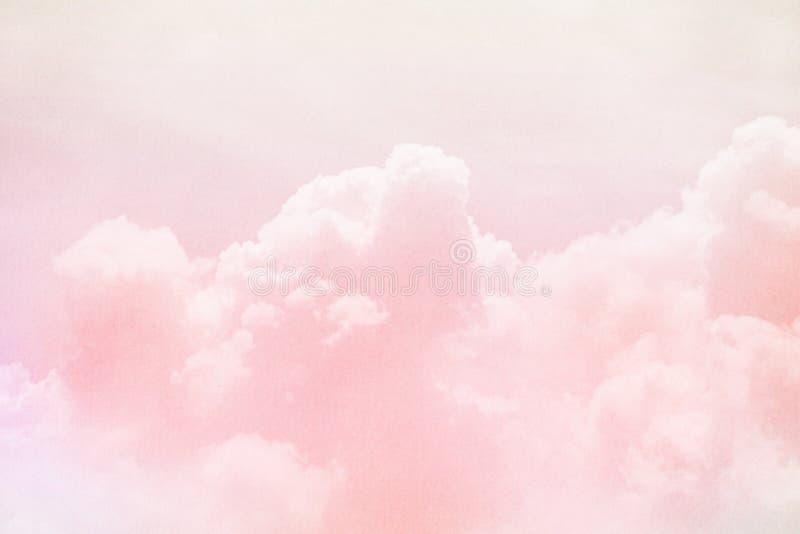 Fantasiehemel en wolk met de kleur van de pastelkleurgradiënt royalty-vrije stock afbeelding