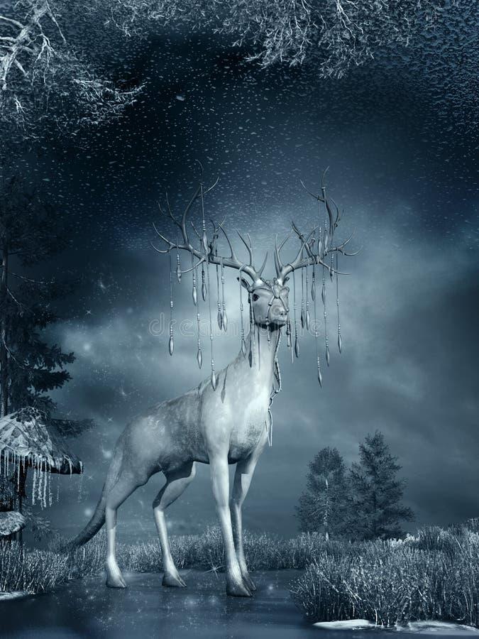 Fantasieherten op de bevroren vijver stock illustratie