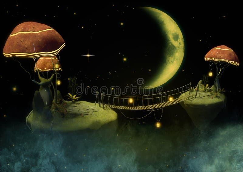 Fantasiehintergrund von einer Insel mit Pilzen lizenzfreies stockfoto