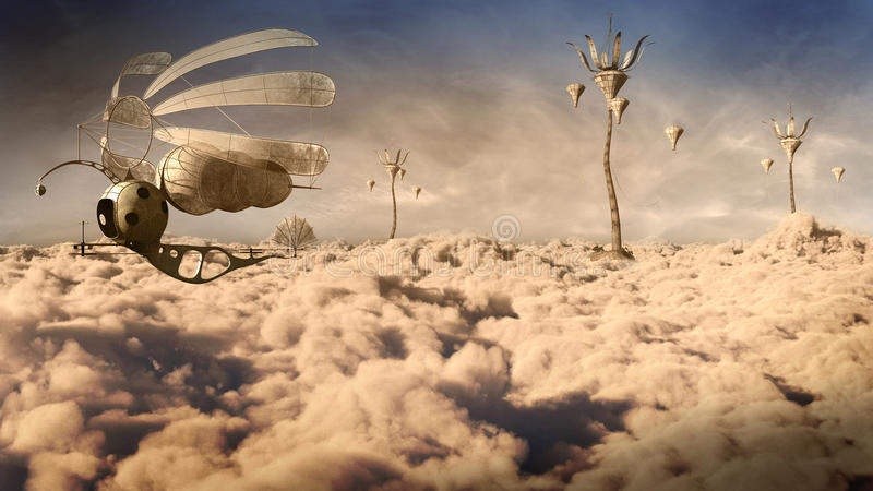 Fantasiehuizen boven de wolken stock illustratie