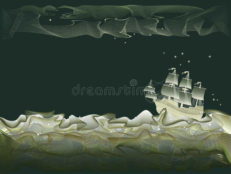 Fantasieillustratie van oude zeilboot bij nachtreis Stormachtige golven van overzees in vorm van het abstracte lijnen kronkelen stock illustratie