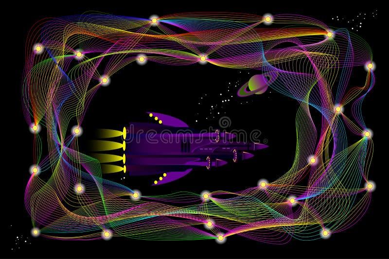 Fantasieillustration des futuristischen Raumschiffes reisend in Raum zwischen stilisierte tiefe neurale Netze lizenzfreie abbildung