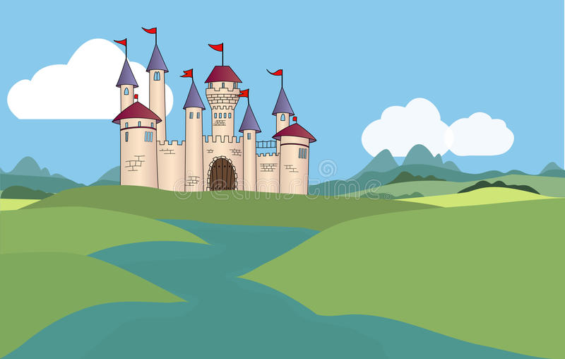 Fantasiekasteel royalty-vrije illustratie