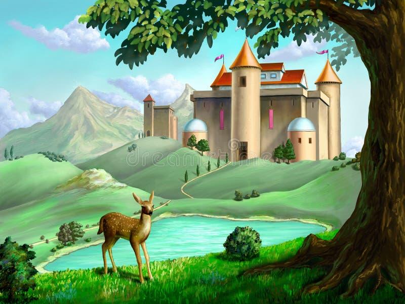 Fantasiekasteel stock illustratie