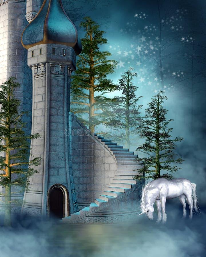 Fantasiekontrollturm mit einem Einhorn lizenzfreie abbildung