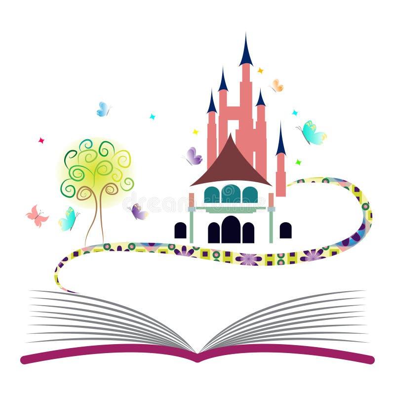Fantasiekonzeptphantasiebuchschlossbaumschmetterlingsgeschichten-Mythos- Märchenbuch lizenzfreie abbildung