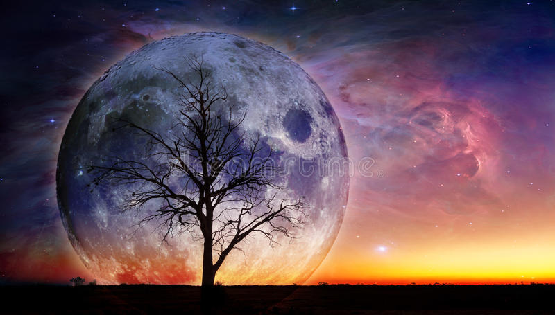 Fantasielandschaft - einsames bloßes Baumschattenbild mit enormem Planeten lizenzfreie stockfotos