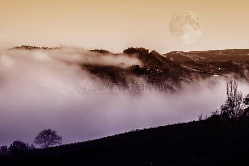Fantasielandschaft im Nebel stockfotos