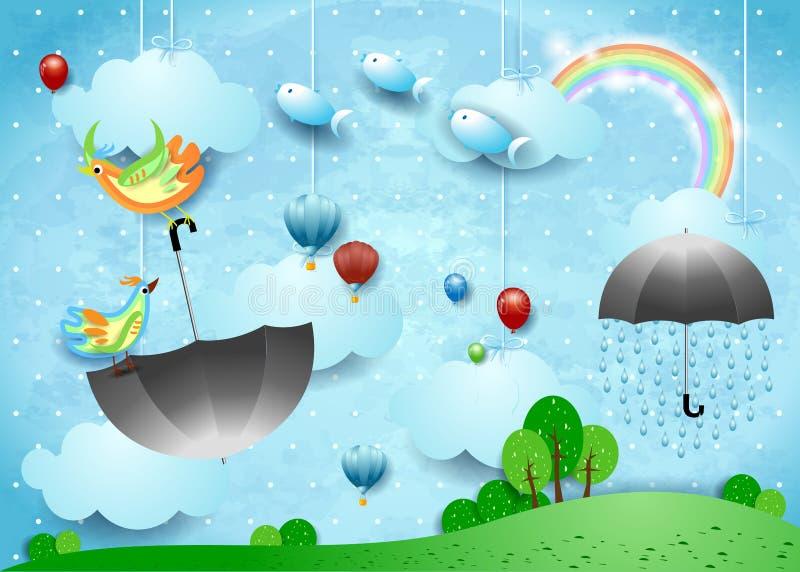 Fantasielandschaft mit Regen, fliegendem Regenschirm und Fischen stock abbildung