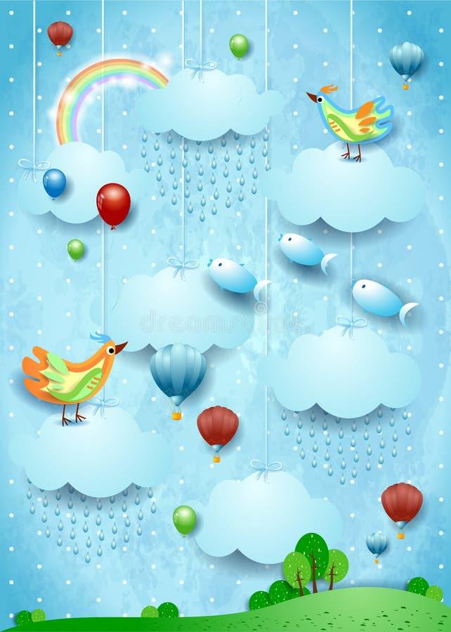 Fantasielandschaft mit Regen, Vögeln, Ballonen und fliegenden fisches lizenzfreie abbildung