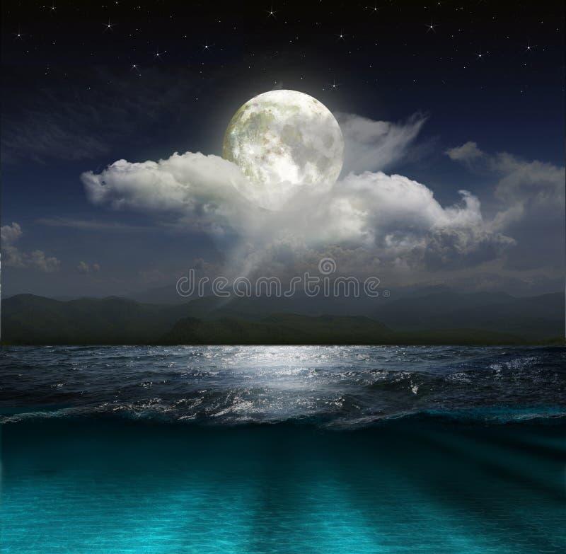 Fantasielandschaft - Mond, See und Fischerboot lizenzfreie stockbilder