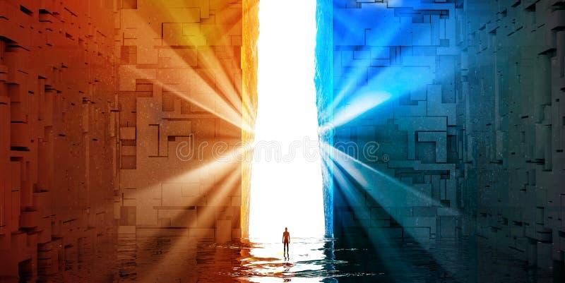 Fantasielandschaft, Spalt, Dunkelheit, Licht, Sonne, Mann vor einem großen Portal in einer Zukunftsromanlandschaft lizenzfreie abbildung