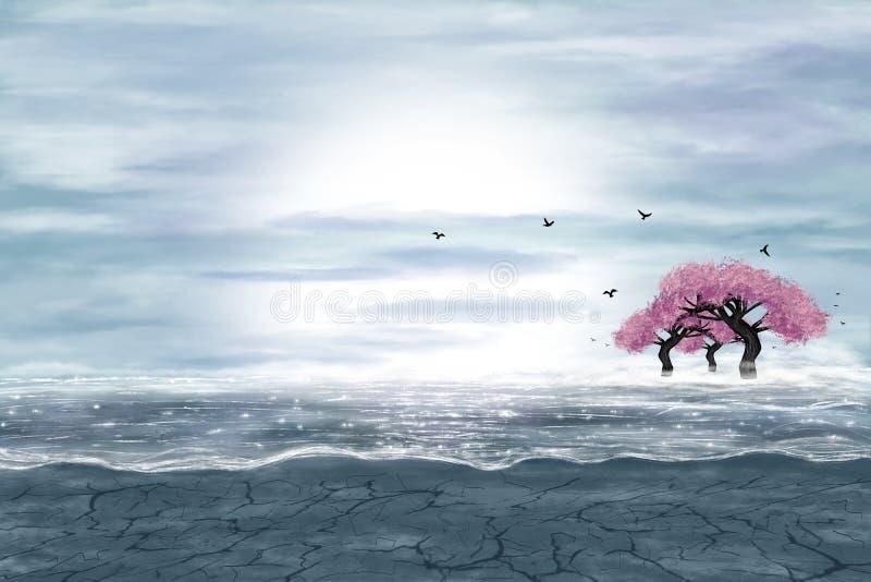 Fantasielandschap in blauwe en grijze kleuren vector illustratie