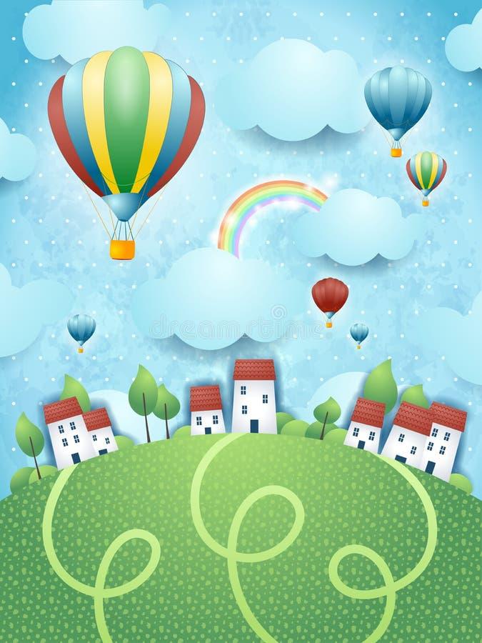 Fantasielandschap met hete luchtballons vector illustratie