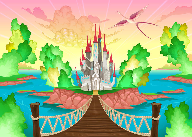 Fantasielandschap met kasteel stock illustratie