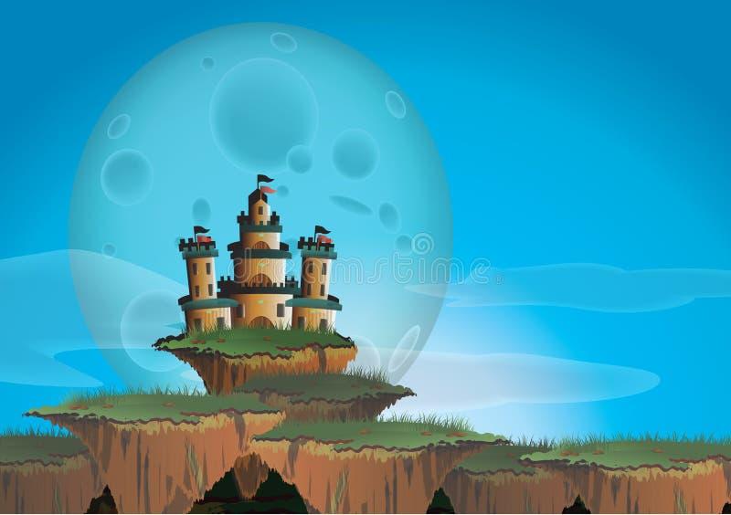Fantasielandschap met kasteel op een drijvend eiland royalty-vrije illustratie