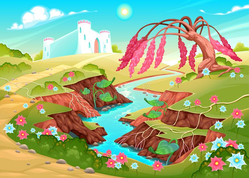 Fantasielandschap met rivier, boom en kasteel stock illustratie