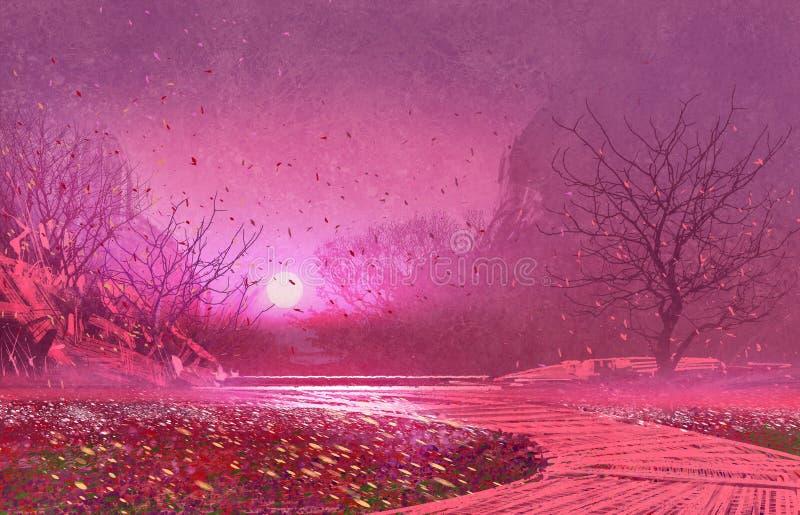 Fantasielandschap met roze magische bladeren royalty-vrije illustratie