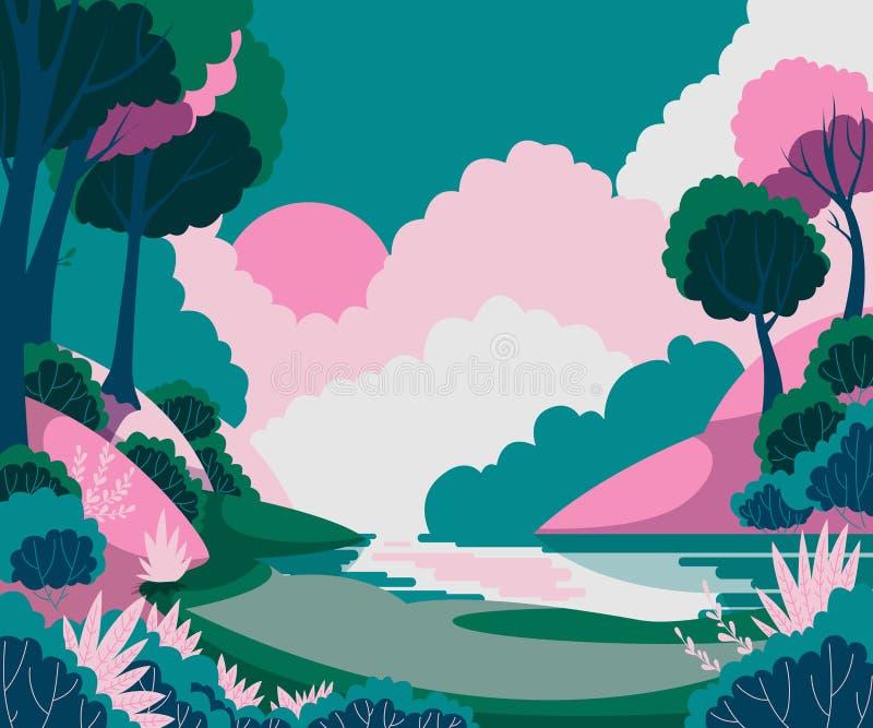 Fantasielandschap met zon, bomen en rivier royalty-vrije illustratie