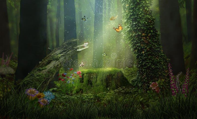 Fantasielichten in het bos stock afbeeldingen