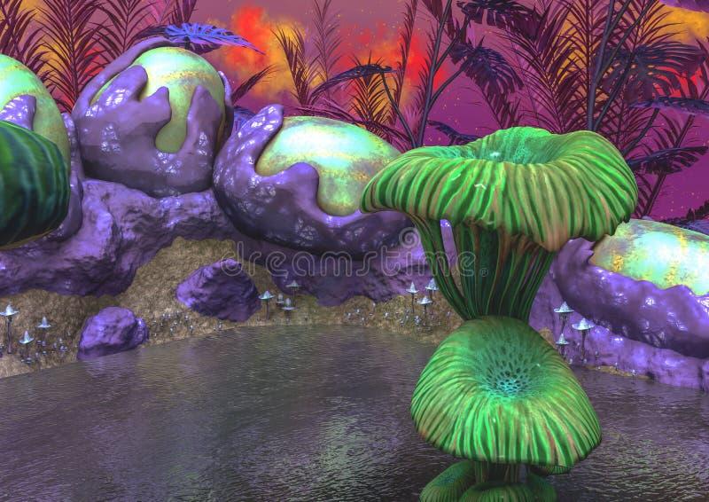 Fantasiemeer met groene paddestoelen, oneven installaties, en eieren stock illustratie