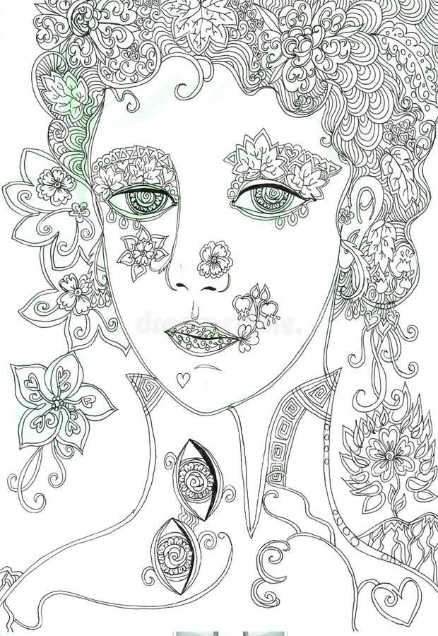 Fantasiemeisje Hand getrokken krabbel en waterverfillustratie van mooi gezicht vector illustratie