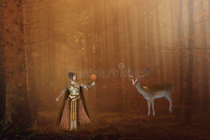 Fantasiemeisje met herten in magisch bos royalty-vrije stock afbeelding