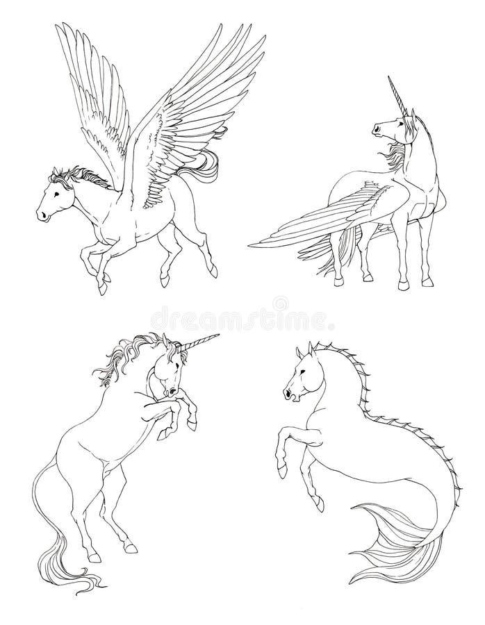Fantasiepferdesammlung eingestellt in Schwarzweiss-Zeichnung lizenzfreie abbildung